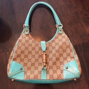 ORIGINAL GG CANVAS & TURQUOISE LEATHER JACKIE HOBO